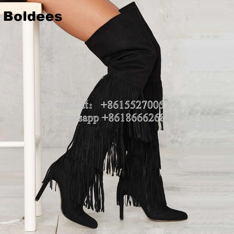 Fashion Black Suede Leather Tassel Designer High Heel Boots Women Over The Knee Winter Pointed Toe Thigh High Booty tassel suede leather knee high women winter boots fashion folded design tassel block heeled booty