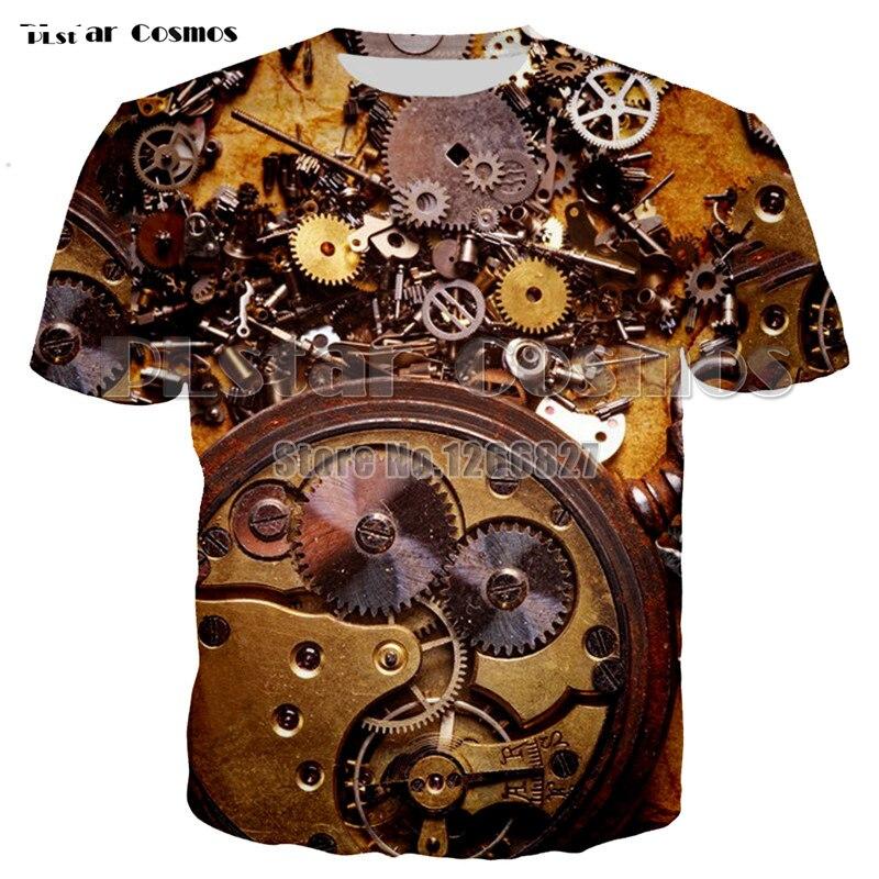 summer Men Mechanical T-Shirt golden Mechanical 3D Printed T-Shirts Men Funny tees tops tee shirt pluse size