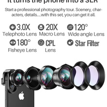 CPL Star Cell Phone Camera Lens Kit Wide Angle Telephoto len