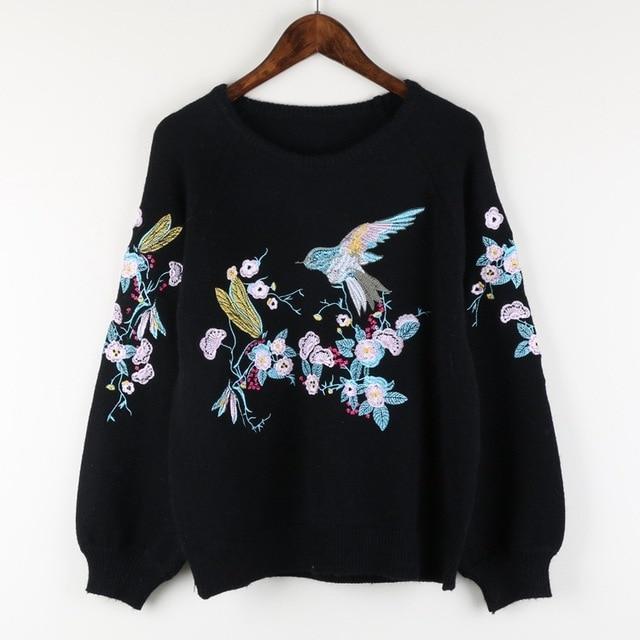 LOT004 женщины новые slim с длинными рукавами Из Бисера блестками вышивка Цветок птицы шерсть вязаные свитера/смешанные шерстяные свитера