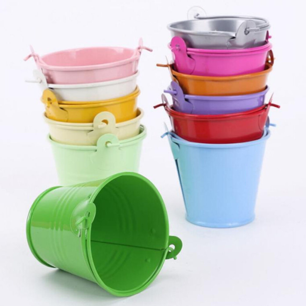 Pastoral Style Colourful Candy Mini Tin Buckets Floor Hanging Flower Pot Planters Garden Supplies  3 Size
