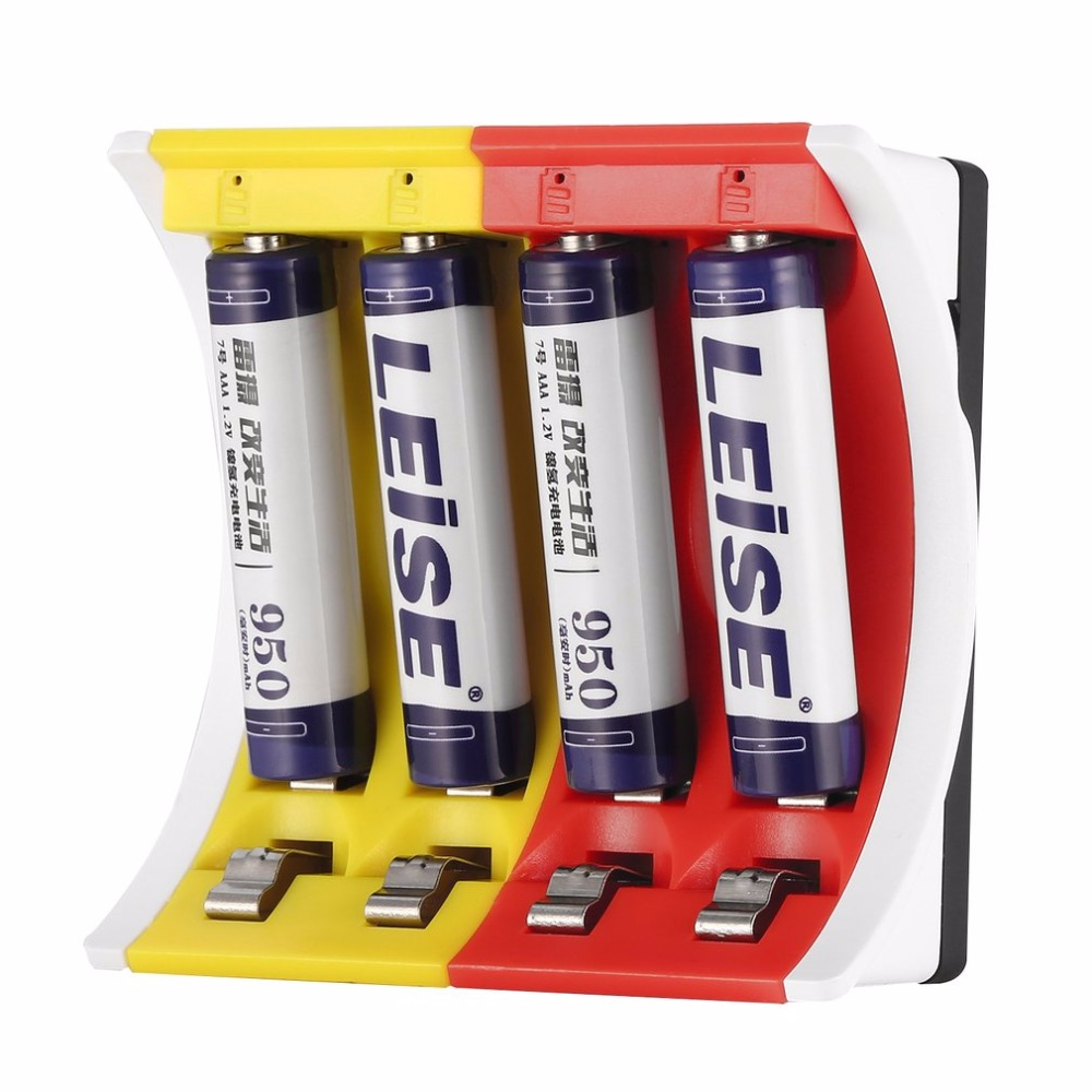 LEISE 4 Slots Smart USB Battery Charger LED Indicator Battery Charger Charging for AA & AAA Ni-MH Rechargeable Batteries