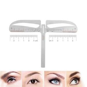 Image 2 - 1 zestaw regulowana pozycja regulacja brwi Eye brow Measure Balance Extension linijka kształt wzornik maszynka do tatuażu szablon praktyki