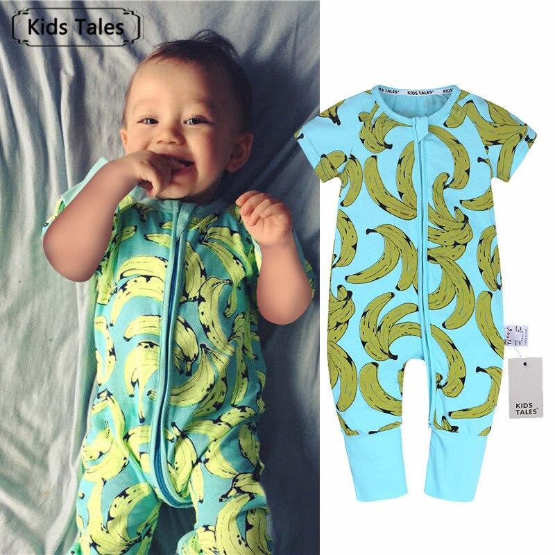 SR330 лето-осень хлопок Костюмы для младенцев Рубашка с короткими рукавами одежда с бананом печати комбинезон для маленьких девочек Комбинез... ...