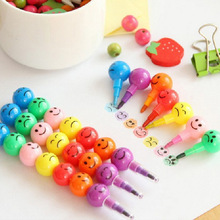 Art-Supplies Stationery Pastel-Pen Crayons Drawing-Set Smiley-Face Kids 7-Color for Kawaii