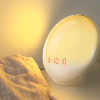 TITIROBA budzik obudź światło cyfrowe drzemka natura lampka nocna zegar Sunrise lampa kolorowa z naturą dźwięki radia FM tanie i dobre opinie Nowoczesne DIGITAL Z tworzywa sztucznego 60mm circular 550g Funkcja drzemki 110mm Cyfrowy Budziki Pojedyncze twarzy Radio