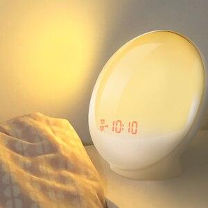 Image 1 - Светильник с часами TITIROBA, цифровые часы, будильник, ночник, естественный, красочный свет восхода, звуки природы, FM радио
