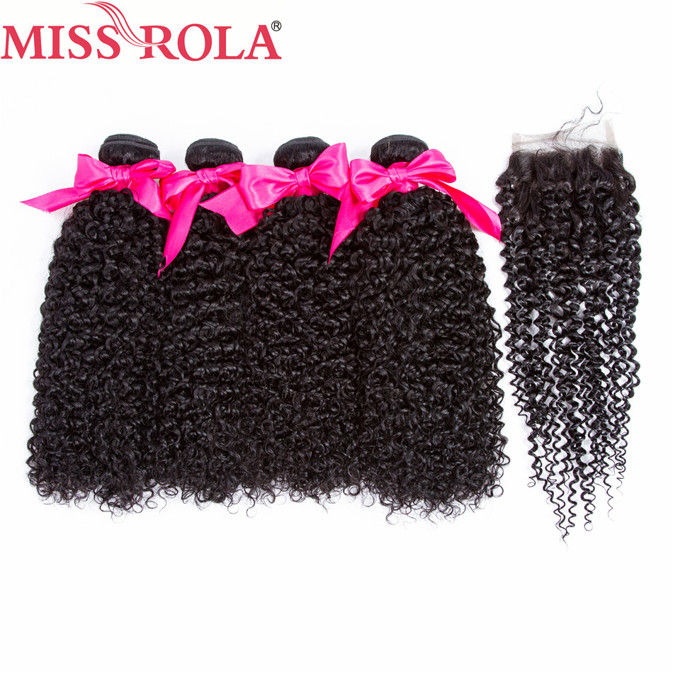 Miss Rola Hair Brazilian Kinky Curly 4 Bundles With Closure 8-26 Inches Natural Color Non-Remy 100% Human Hair Extensions