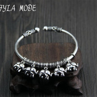 Fyla Mode Vintage 100 Pure 925 Sterling Silver Jewelry Auspicious Elephant Charms Bangle For Women Gift