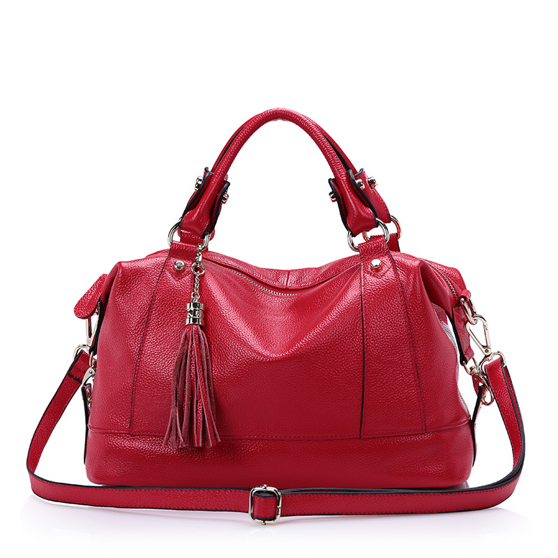 2016 spring and summer shoulder bag Head layer cowhide handbags Tassel women leather handbag Messenger Bags