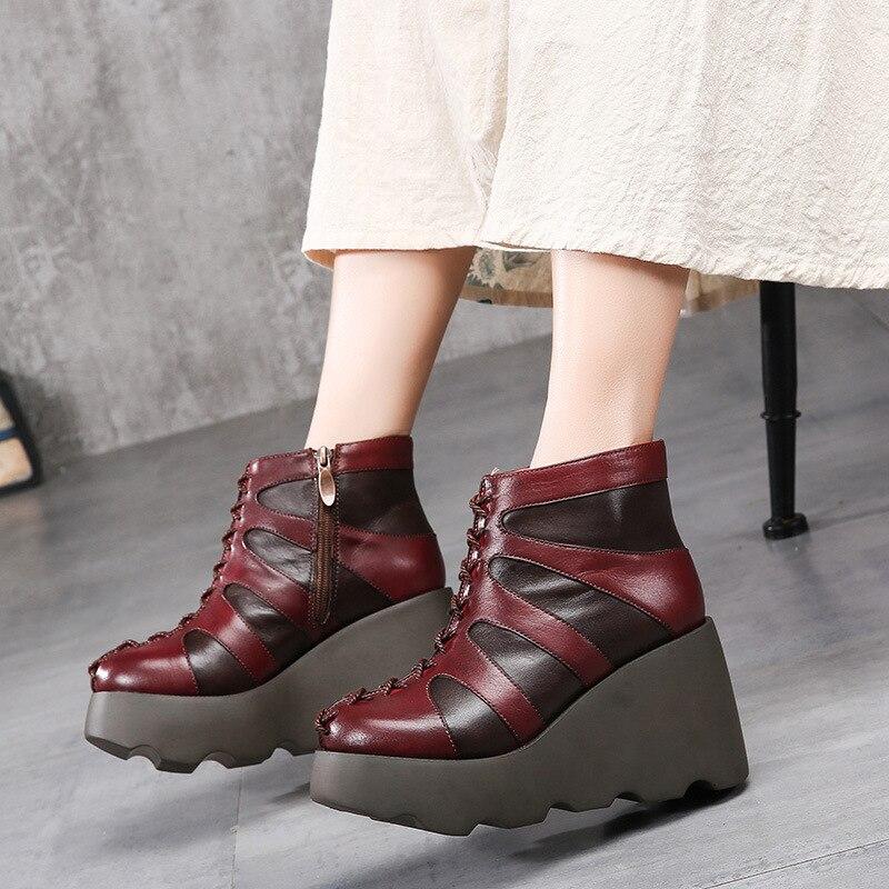 все цены на 2018 New Retro Handmade Leather Thick Soled Women's Boots Platform High Heel Ankle Zipper Boots Winter Warm Boots онлайн