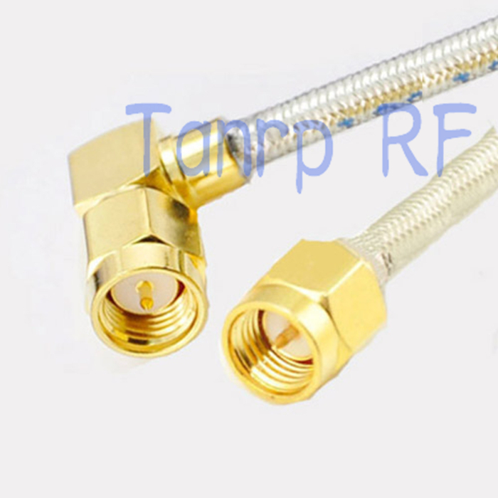 1PCS 3FEET RG402 extension cable SMA male to SMA plug right angle RF adapter connector 1M Pigtail coaxial jumper cable rp sma female to y type 2x ip 9 ms156 male splitter combiner cable pigtail rg316 one sma point 2 ms156 connector for lte yota