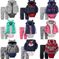 3 Pcs Baby Children Kids Fleece Cardigan Set 1 Hooded Zipper Coat Pants Romper Cotton 2017
