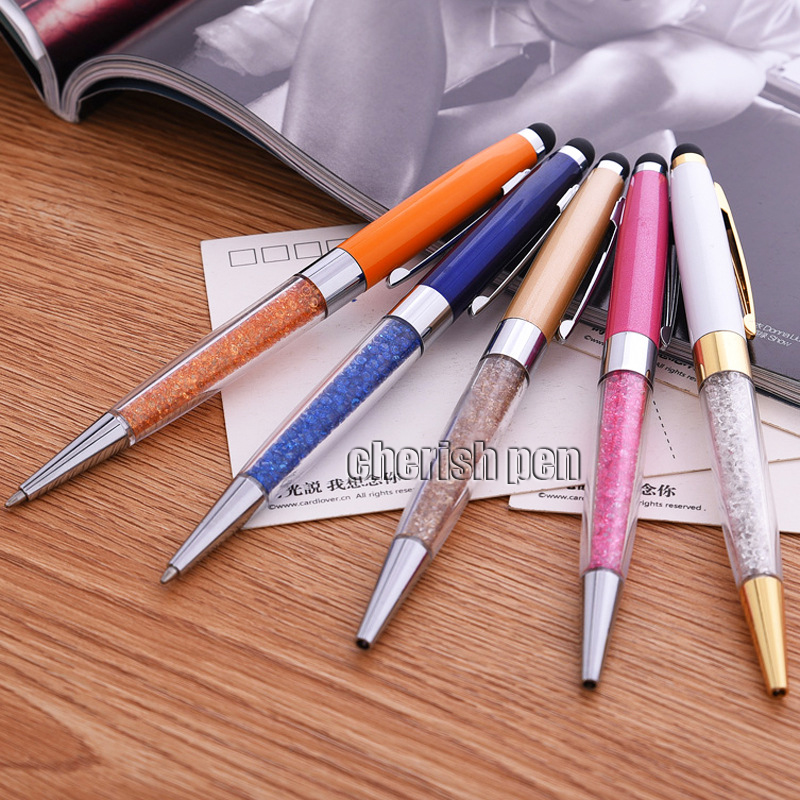 NEW Colorful Touch Diamond Crystal Ballpoint Pen with 0.7mm Multifunction Rollerball Pens for Gift Free Shipping