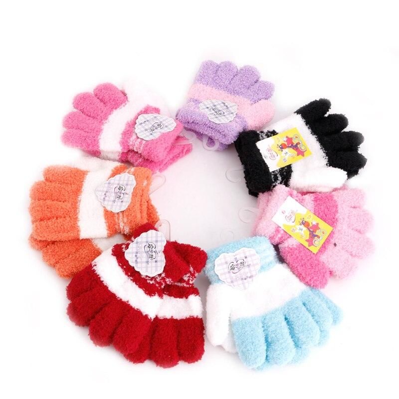 Multi-Color Warm Winter Cute Full Finger Gloves Toddler Knit Rainbow Mittens Velvet Gloves 2020 dropshipping