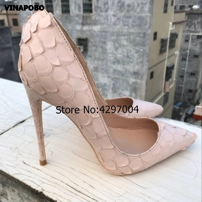 2019 New Brand Sexy Women Pumps Beige Snake Printed High Heels Pointed Toe High Heel Party