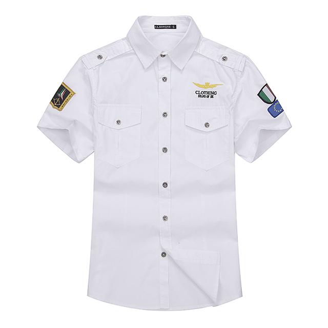 Novo 2016 dos homens da força aérea 1 camisas de vestido de manga curta 100% algodão 4 cores dos homens camisas camisas hombre sociais masculina