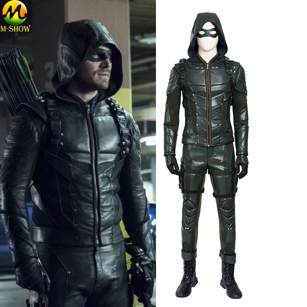 Green Arrow Season 5 Cosplay Costume Oliver Queen Cosplay Costume Leather Suit Adult Men Halloween Costum Made