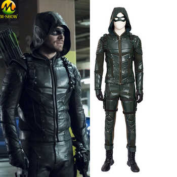 Green Arrow Season 5 Cosplay Costume Oliver Queen Cosplay Costume Leather Suit Adult Men Halloween Costum Made - DISCOUNT ITEM  15% OFF All Category