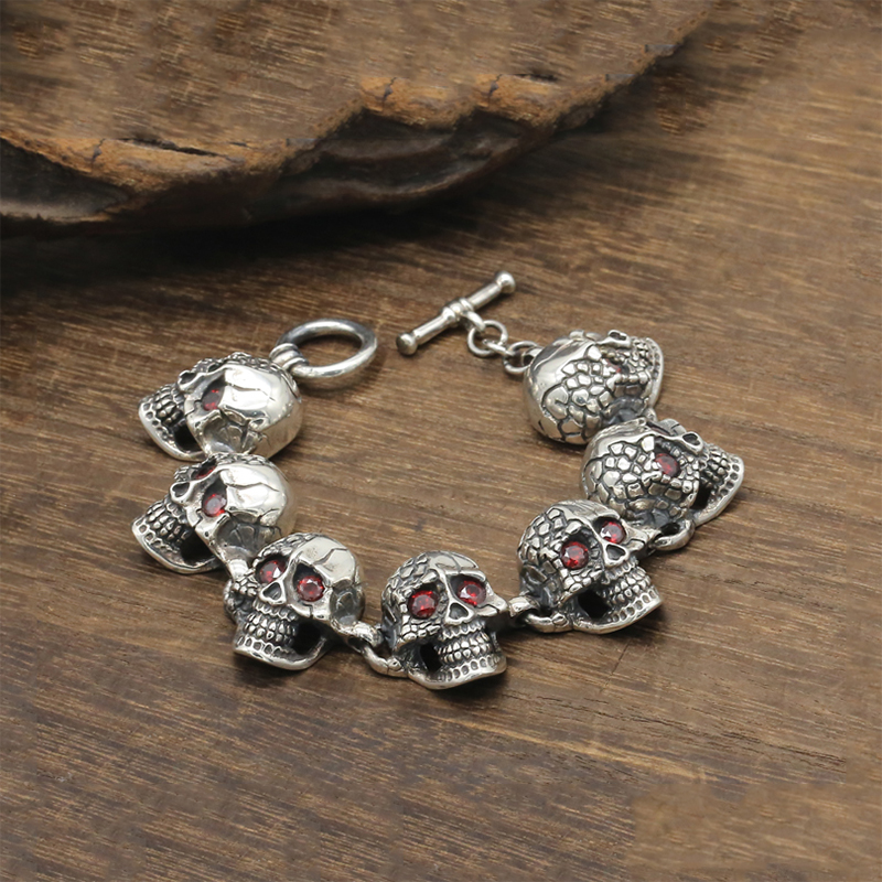 Punk-Skull-Charm-Bracelet-100-Real-925-Sterling-Silver-Jewelry-Men-Women-Inlaid-natural-stone-Chain (1)