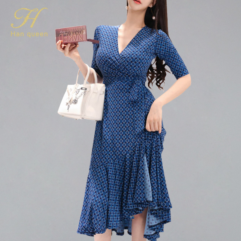 H Han Queen Vintage Casual Lace Up Ruffles Dress Women 2019 Summer Fit And Flare Swing Dresses OL New Sexy Print A-line Vestidos