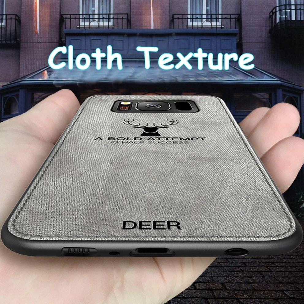 Luxury Cloth Texture Phone Case For <font><b>Samsung</b></font> Galaxy S9 S8 S10 Plus Note 9 S8plus <font><b>S10E</b></font> Retro 3D Deer Soft Leather Back Cover <font><b>Capa</b></font> image