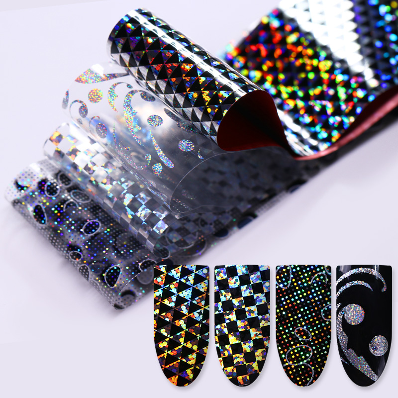 1 Roll 4*100cm Holographic Nail Foil Laser Christmas Tree Elk Snowflake Nail Art Transfer Sticker Manicure Nail Foil Paper DIY 9 rolls colorful flower nail foil 4 100cm holographic starry full fingernail manicure nail art transfer sticker