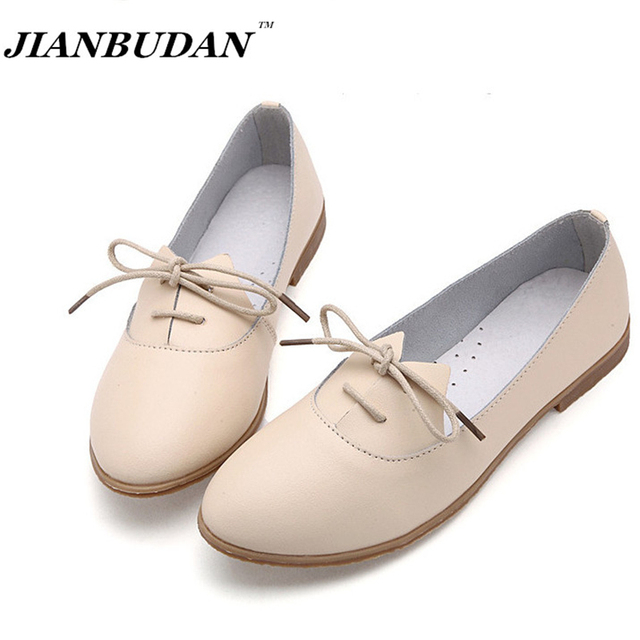 JIANBUDAN Leather shoes fashion simple zapatos mujer, shoes woman 2016  casual flat shoes women   Low price and high quality