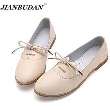 Jianbudan/кожаные туфли модные простые Zapatos Mujer, женская обувь 2017 г. повседневная обувь на плоской подошве низкая цена и высокое качество