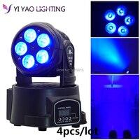 4pcs/lot Moving Head Mini wash 5x15w LED RGBWA UV 6in1 Quad with advanced 10/15 Channels