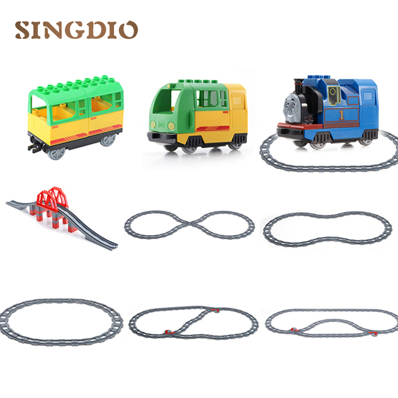 SINGDIOThomas Train Track Carriage Cross/Straight/Curved transfer Rail Building Blocks Compatible with Duplo educational toy singdio train track big building blocks carriage cross straight curved furcal rail kids educational toys compatible with duplo