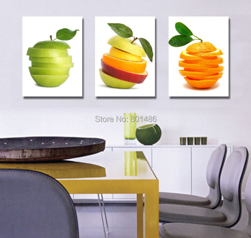 Kitchen Set Orange: 3 Piece Kitchen Fruit Pictures Modern Wall Painting Apple