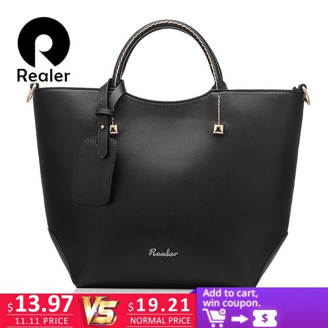 Бренд Realer женская сумочка, большая сумка ведро с короткими ручками, дизайнер сумок высокого качества из искуственной кожи, алая вечерняя сумка на ремне через плечо