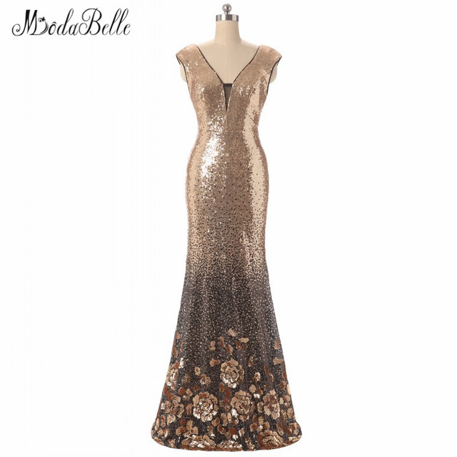 modabelle Silver Gold Bridesmaid Dresses Long Party Gown With Sequins Robe  Demoiselle D honneur Party Wedding Guest Dress 2018 6e6af63162bd
