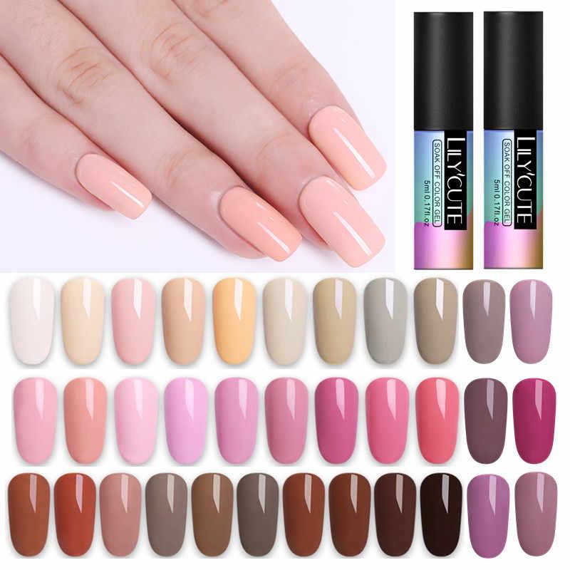 LILYCUTE 5ML Pink Nude Grey Series Soak Off UV Gel Polish