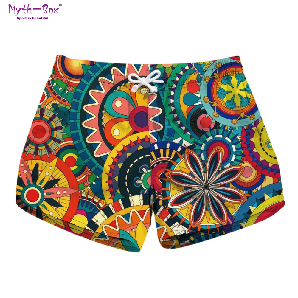 Summer Women Beach Shorts Mini Water Sport Pant Geometric Print Brand Surfing Short Drawstring Female Travel Surf Board Feminino