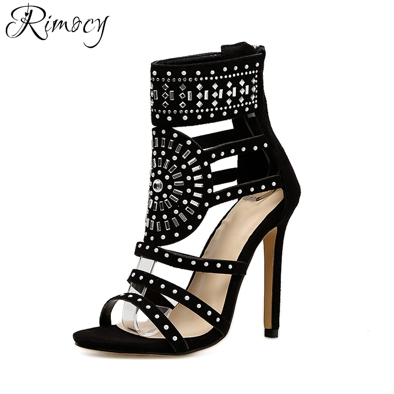 Rimocy summer beach hollow out high heels sandals women sexy open toe black straps gladiator pumps fashion sandalias shoes woman