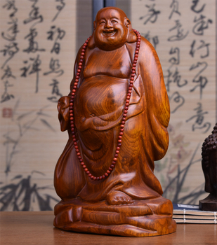 GOOD Buddha -HOME Spiritual protection Bless family # Bring good luck Handmade Yellow pear wood carving Maitreya Buddha statue