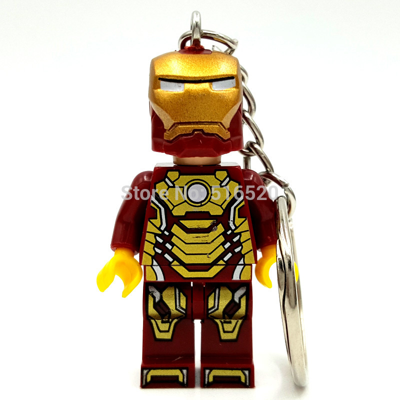 Iron Man Figure keychain Super Hero Keys Ironman Ring DIY Handmade Key Chain Building Blocks Toys all characters tracer reaper widowmaker action figure ow game keychain pendant key accessories ltx1