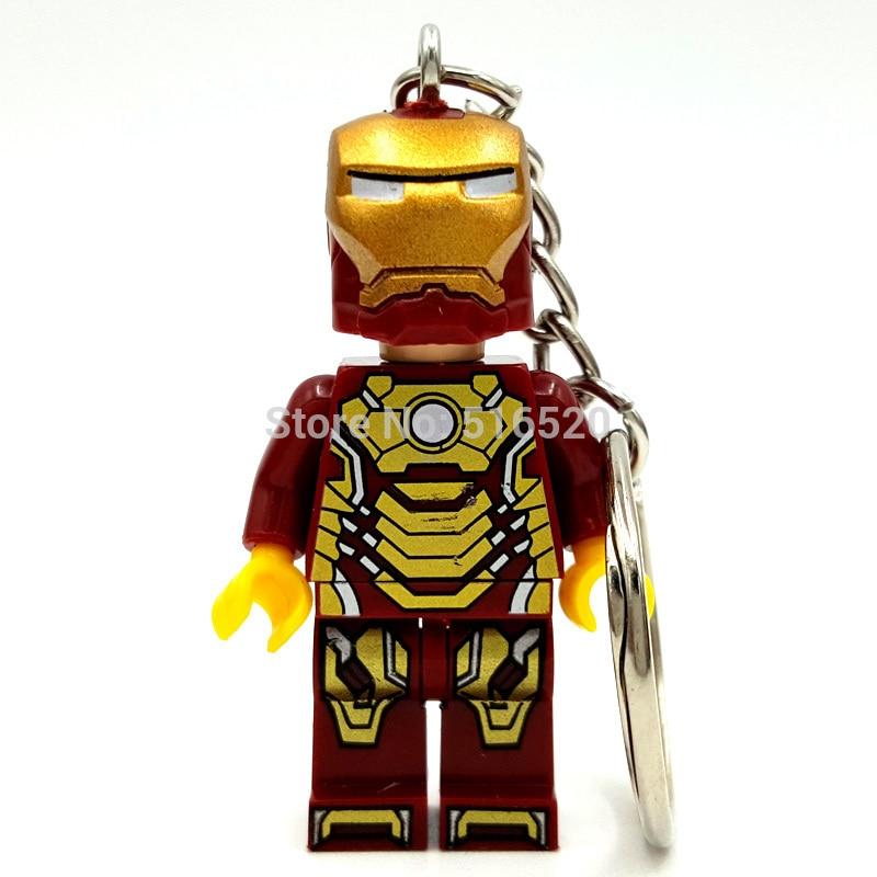 Iron Man Figure keychain Super Hero Keys Ironman Ring DIY Handmade Key Chain Building Blocks Toys