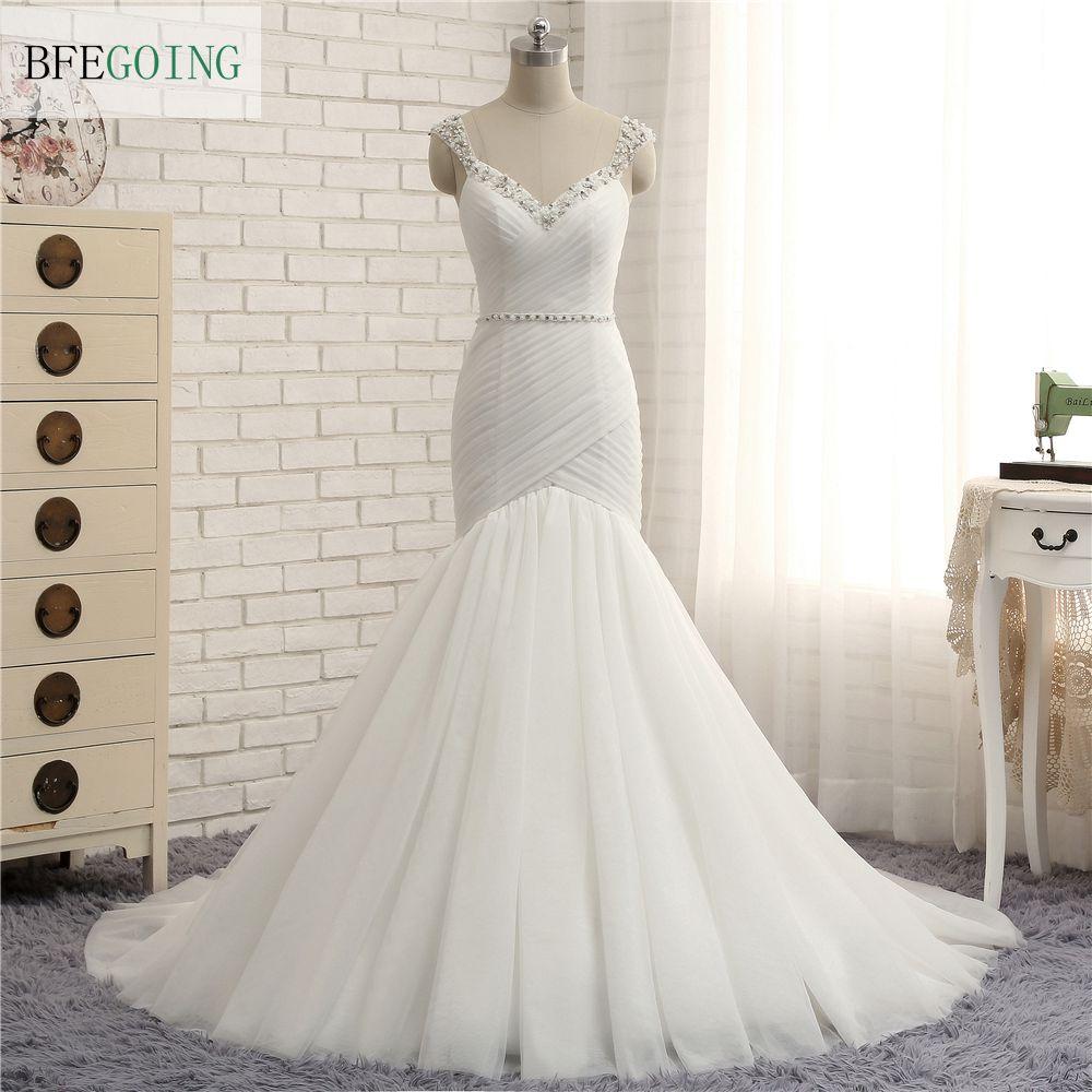 Ivory Organza V Neck Beading Spaghetti Straps Mermaid Trumpet Wedding Dress Court Train Crystal Belt Bridal