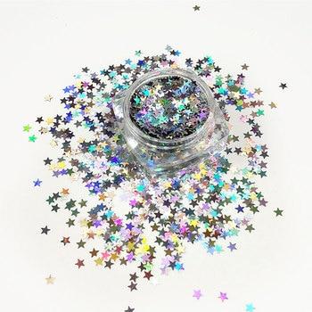 Блестки в форме звезд, голографические лазерные Серебристые хлопья 3 мм, большой размер, лучший эффект для дизайна ногтей, блестки для рукоделия, украшения