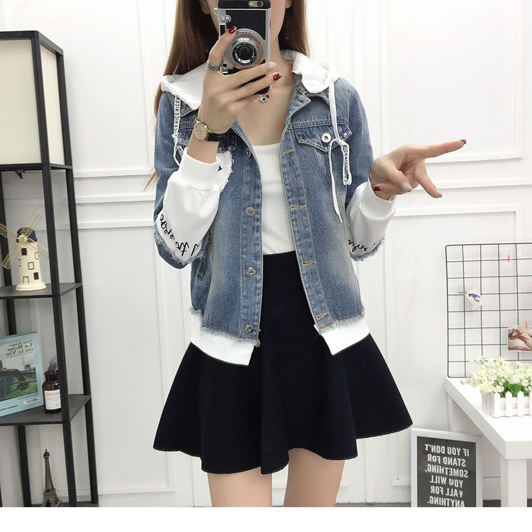 New Autumn Casual Hooded Short Denim Jacket Women Fashion Splicing Patch Coat Plus size Pockets Loose Jackets Jeans Coat Female 45