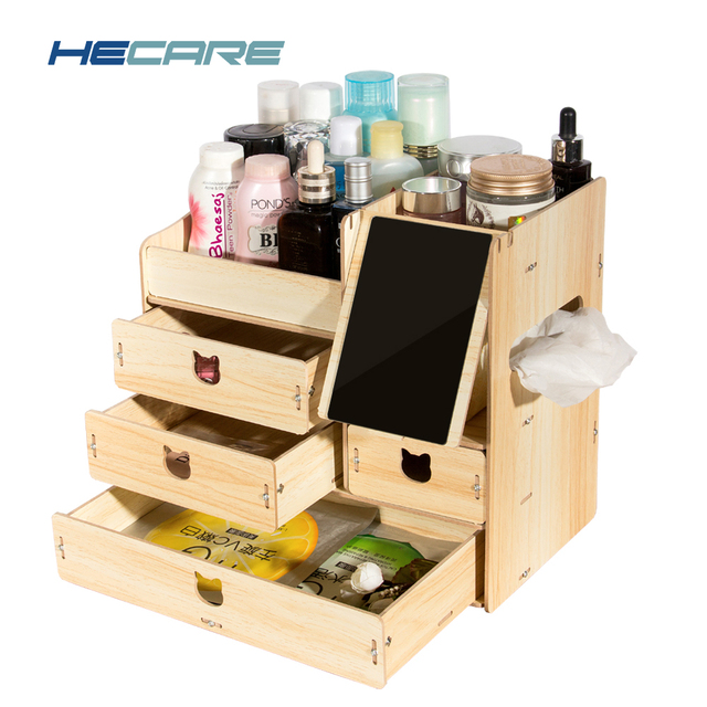 2017 New Storage Box For Jewelry Cosmetic Wooden Storage Containers  Organizers DIY Storage Drawer Of Ornaments