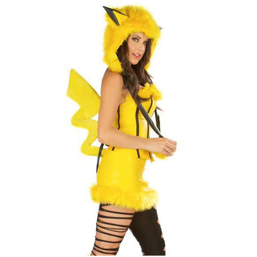 game suits pikachu pokemon cosplay halloween christmas party costume adult animal fantasia queen dress performance clothing on aliexpresscom alibaba - Pikachu Halloween Costume Women