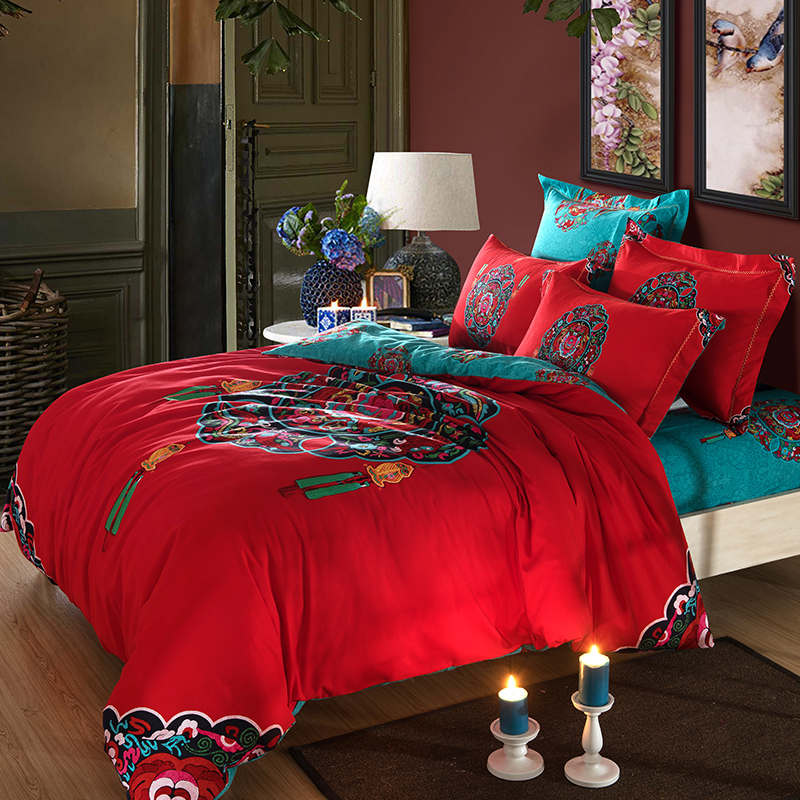 red turquoise oriental Chinese Traditional pattern bedding ...
