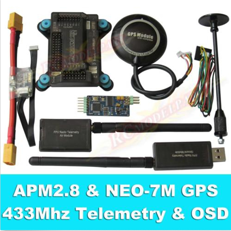 APM2.8 Flight Controller + NEO-7M GPS, 3DR 433Mhz 915Mhz Telemetry, OSD, Power Module minimosd on screen display osd board apm telemetry to apm 1 and apm 2