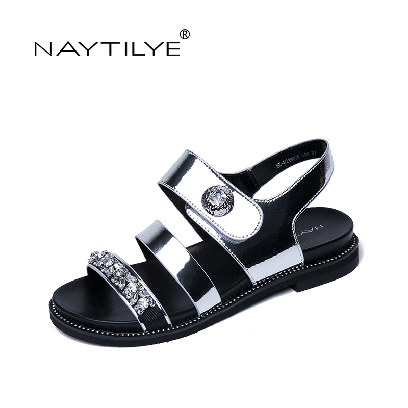 NAYTILYE NEW 2018 ECO-leather casual sandals Summer shoes woman flat with hook loop silver gold crystal size 35-40 Free shipping 2014 new gold scorpion black patent leather flat women sandals shoes free shipping