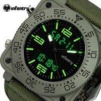 ทหารราบบุรุษนาฬิกาควอตซ์Relógio Masculinoไนล่อนสายทหารนาฬิกาข้อมือส่องสว่างสแควร์ใบหน้าอนาล็อกดิ...