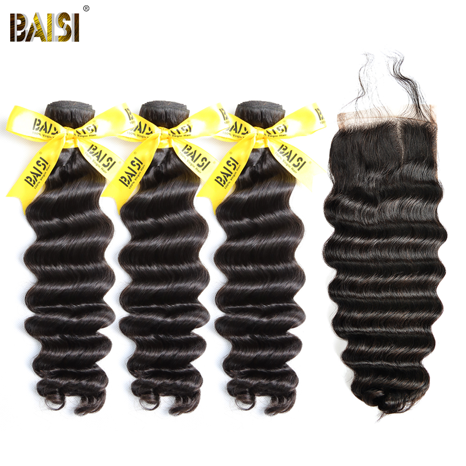 BAISI Peruvian Virgin Hair Natural Wave 3 Bundles with Closure Nature Color Free Shipping.